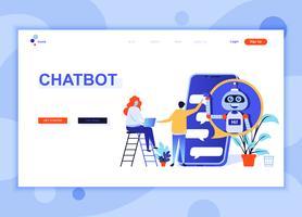 El concepto plano moderno de la plantilla del diseño de la página web de Chat Bot y el márketing adornaron el carácter de la gente para el sitio web y el desarrollo móvil del sitio web. Plantilla de página de aterrizaje plana. Ilustracion vectorial
