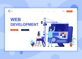 Moderna platt webbdesign mall koncept för webbutveckling dekorerade människor karaktär för webbplats och mobil webbutveckling. Platt målsida mall. Vektor illustration.