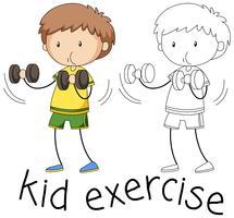 Doodle chico ejercicio personaje