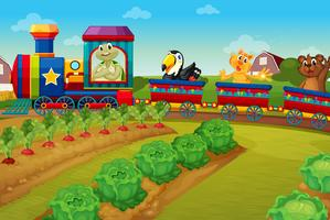 Animals riding on train by the farm