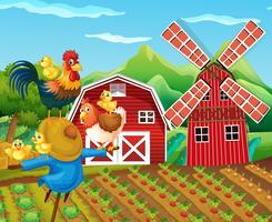 Farm scene with scarecrow and chickens