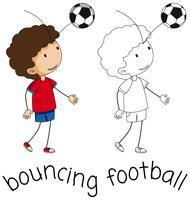 Een doodle jongen stuiteren voetbal
