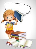 Menina lendo livro e modelo de bolha