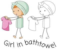 Doodle girl in bathtowel