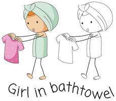 ragazza di doodle in bathtowel