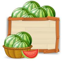 Watermelon on the wooden banner