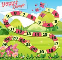 Boardgame template wtih butterflies in garden