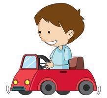 Gekritzeljunge fahren Spielzeugauto