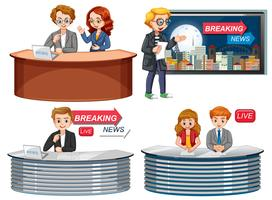 Set of news reporter vector