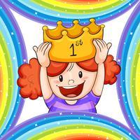 Girl wearing golden crown vector
