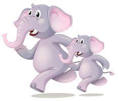 Éléphant en cours d'exécution sur fond blanc