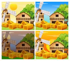 Four scenes of farmyard day and night