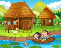 Dois, crianças, barco remando, em, a, rio