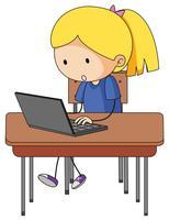 Doodle niña jugando computadora
