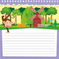 Line paper design with monkey and barn