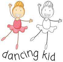 Doodle niña bailando ballet vector