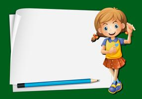 Paper template with happy girl and pencil