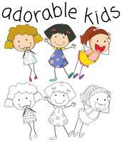 Grupo de chicas del doodle