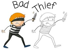 Doodle bad thief character vector