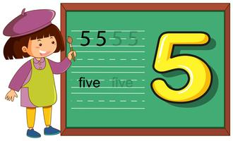Number five worksheet on blackboard vector