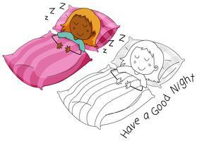 Doodle carattere ragazza dorme