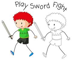 Doodle Boy Schwert spielen vektor