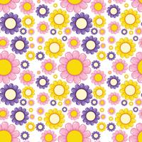 Flat flower seamless pattern