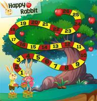 Modelo de jogo com coelhos e macieira