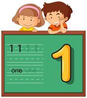 Chico y chica con numero uno