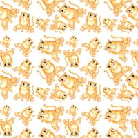 Yellow cat seamless pattern