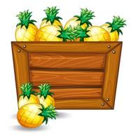 Pineapple on wooden banner