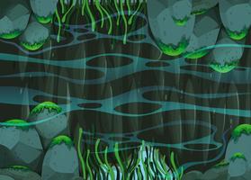 Scène d'étang avec des roches et des plantes