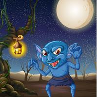 Scary goblin at night scene