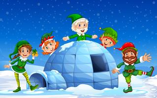 Christmas elf in winter background