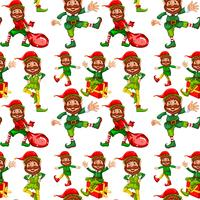Happy christmas elf seamless pattern