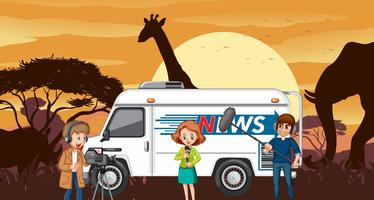 Outside broadcasting in savanna desert vector