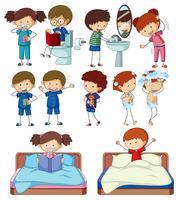 Conjunto de atividades de rotina de personagem de crianças doodle vetor