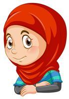 Half body of muslim girl vector