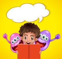 Niño leyendo libro con dos monstruos