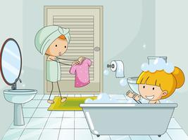 Doodle kids in bathroon vector