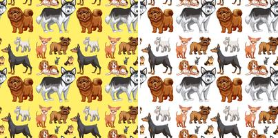 Seamless background with cute dogs