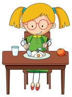 Doodle girl charcter eating breakfast vector