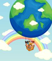 Children riding on balloon in the sky
