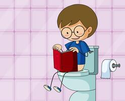 Doodle ragazzo sedersi in bagno vettore