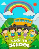 Back to school theme with school bus and kids