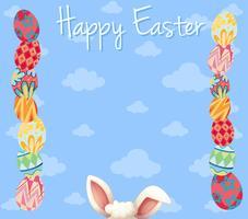 Modèle de carte de Pâques avec des oeufs colorés