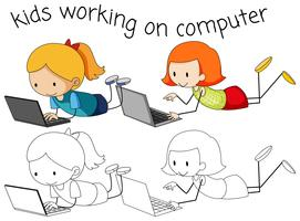 Girls using computer on white background