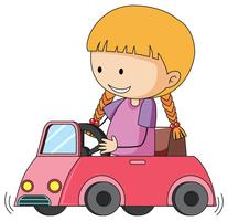 Doodle niña montando carro de juguete vector