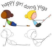 Set van doodle yoga meisje