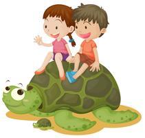Gelukkige kinderen die schildpad berijden